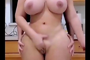 Busty girl standing ass fuck in kitchen