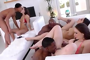 Interracial group cumswap
